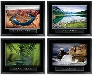 Motivational Set of 4: Innovation, Vision, Endurance & Influence 22x28 Inch Framed Poster Set
