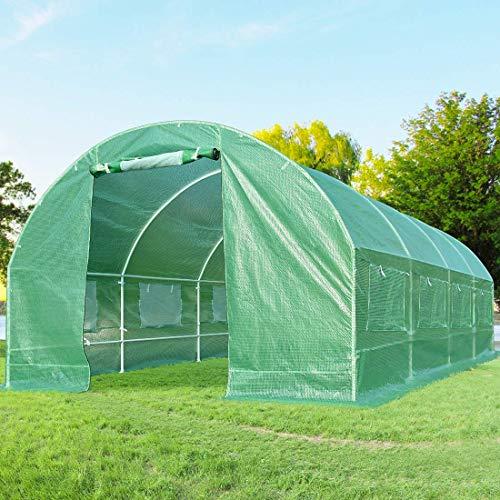 Quictent 2 Doors 20 Stakes Heavy Duty 20 x 10 x 6.6 ft Portable Greenhouse Large Walk-in Green Garden Hot House + 2 Doors Flow-Through Ventilation