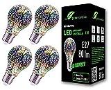 4x Lampadina a LED greenandco® con effetto fuochi d'artificio 3D per un'illuminazione d'atmosfera decorativa E27 A60 4W 80lm 360° 230V, nessun sfarfallio, non dimmerabile