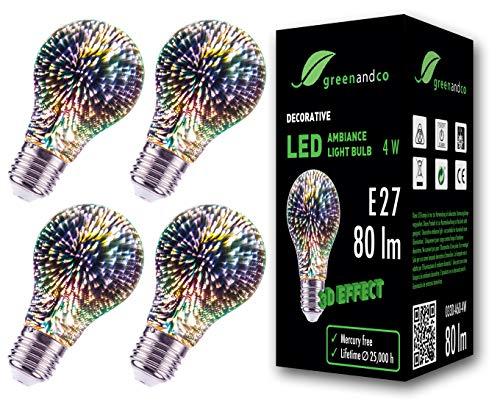 4x greenandco® Designer LED Lampe mit 3D Feuerwerks-Effekt zur dekorativen Stimmungsbeleuchtung E27 A60 Edison Glühbirne 4W 80lm 230V flimmerfrei nicht dimmbar 2 Jahre Garantie