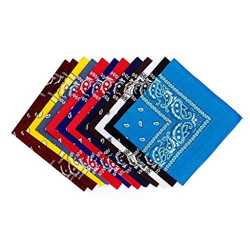 MOTOCO Bandana (12er Set) Halstücher Set für Frauen, Männer und Kinder Mischfarben Biker Kopftücher kann als Halstuch oder Schweißband(55.8x55.8CM.Mehrfarbig)