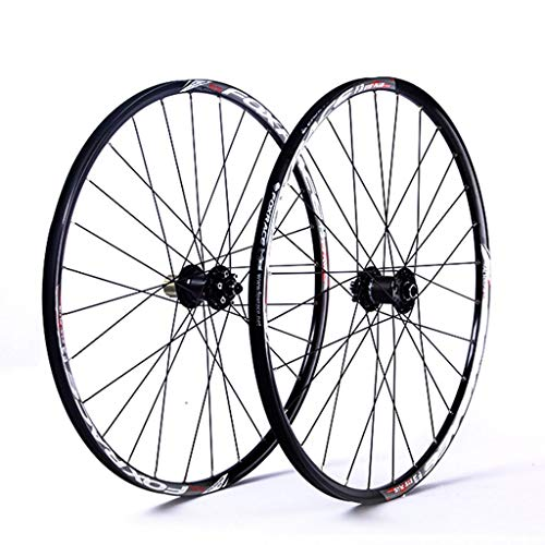 LSRRYD Cycling Wheels MTB Bike Wheel Set 26' 27.5' Double Wall alloy Rim Disc Brake Carbon Hub 8 9 10 11 speed Cassette flywheel Quick Release 1610g (Color : Black, Size : 27.5inch)