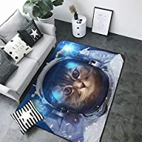 非常にソフトなモダンエリアのカーペット、リビングルームのカーペットと寝室のカーペット、子供部屋のクローリングマット、宇宙飛行士猫 の模様入り家の装飾用カーペット (203 X 148 Cm)