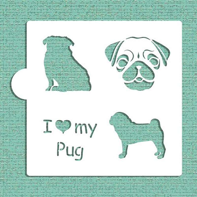 I Love My Pug Cookie And Craft Stencil CM015 By Designer Stencils