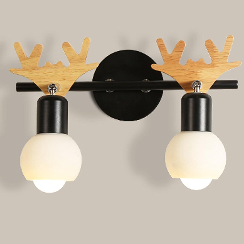 Leuchte Nordic kreative Wandleuchte moderne minimalistische Schlafzimmer Nachttischlampe Massivholz Lampe (Farbe   Two heads-5W)