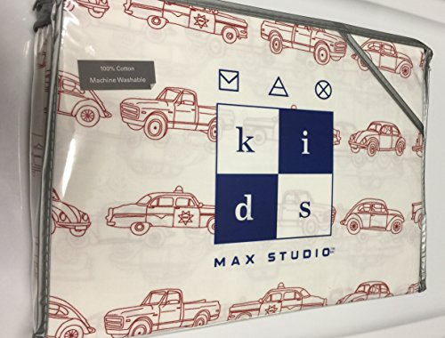 Max Studio Kids 4 Piece Full Red Vintage Cars and Trucks Sheet Set