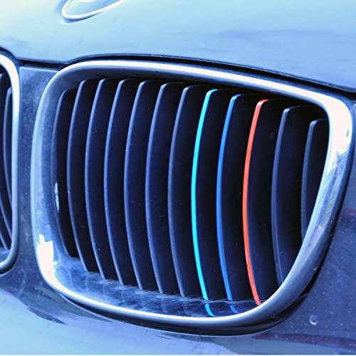 Nierenaufkleber Set aus 18 Aufklebern Hellblau Blau Rot M Farben Performance Aufkleber Gitter Kühlergrill Zierstreifen Selbstklebend Sticker Auto Aufkleber Streifen Emblem M Grill