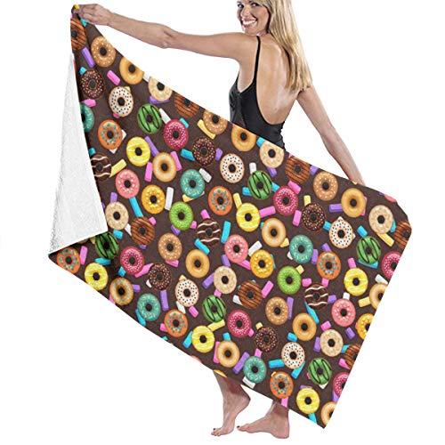 Iop 90p Donut-Muster, Bademantel, Badetuch, Waschlappen für Fitnessstudio, Strand, Spa, Polyester, weiß, Einheitsgröße