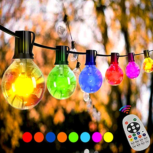 Svater G40 LED String Lights,30ft 15Pcs Plastic LED Globe Bulbs-RGBW Dimmable Heavy Duty Color Changing Outdoor Festoon String Lights, LED IP45 Waterproof for Grade Gazebo Cafe Backyard