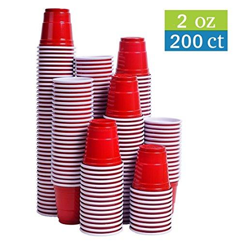 Tashibox Disposable Mini Red Shot Glasses - 2 Ounce - 200 Count - Mini Party Cups, Jager Bomb, Jello...
