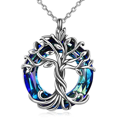 TOUPOP Tree of Life Necklace for Women Sterling Silver with Blue Circle Crystal Family Jewelry Gifts for Mom Women Mother Grandmother Teen Girls Friend Birthday
