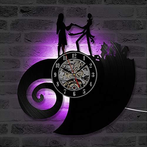 wtnhz LED Reloj de Pared de Vinilo Colorido Pesadilla clásica Antes de Navidad Amor Reloj de Pared con Disco de Vinilo Antiguo CD Mural Arte Mudo Reloj de luz LED Decoración del hogar