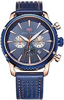 Mini Focus Mens Quartz Watch, Chronograph Display and Leather Strap - MF0010G.02