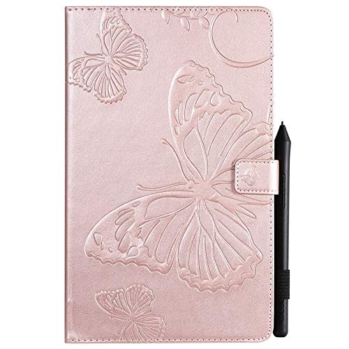 Wangqianli Compatible With Samsung Galaxy Tab A 10.1 Inch SM-T510/T515 (2019 Release) Butterfly Flower Floral Pattern PU Leather Wallet Stand Tablet Case (Color : Rose Gold)