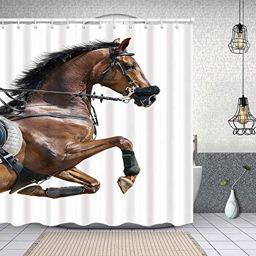 MAYUES Cortina de Ducha Impermeable Cerrar Caballo de Salto castaño Hackamore en Cortinas baño con Ganchos Lavable a Máquina 72x72 Inch