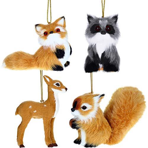 Gejoy 4 Pieces Plush Animal Ornament Christmas Hanging Ornament Plush Holiday Animal Tree Decoration for Christmas Supplies