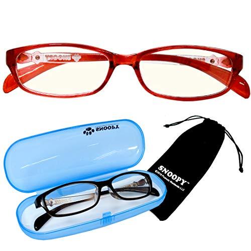 PCメガネ キッズ スヌーピー レッド[巾着+ケース付]SNOOPY ブルーライトカット 子供 小さめ 大き目 女性用メガネ pcメガネ パソコン用眼鏡 サングラス (レッド) [並行輸入品]