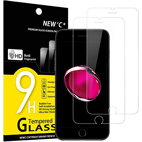 NEW'C Lot de 2, Verre Trempé Compatible avec iPhone 7 et iPhone 8, Film Protection écran sans Bulles d'air Ultra Résistant (0,33mm HD Ultra Transparent) Dureté 9H Glass