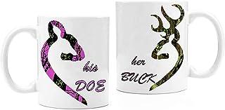 Customize Store Couples Funny Ceramic Coffee Mug Tea Cup Set - Her Buck, His Doe - 11 Oz, White