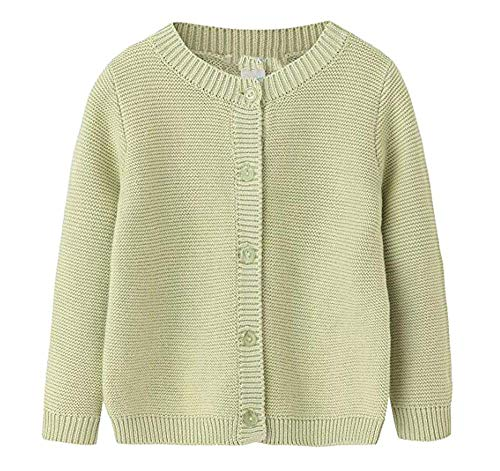 Baby Little Girls & Boys 100% Cotton Solid Knit Cardigan Sweaters For Winter Green 3T