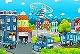 Polizei Helikopter Stadt Kinder XXL Wandbild Kunstdruck