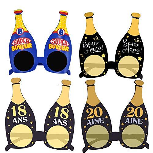 WENTS Gafas de Cerveza 4Pcs Gafas de Fiesta Divertidas Divertido Disfraz Despedidas de Soltero Carnival Fiesta del Festival de Munich de Fiesta Botella de champán Gafas