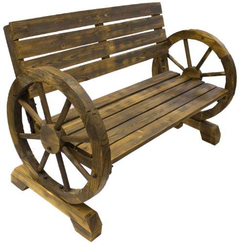 Gartenbank aus Holz, Wagenrad-Stil