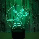 Lampe visuelle 3D Illusion d'optique Led Night Light 7 couleurs changeantes Touch Night Light Un cadeau de Noël et du nouvel an parfait pour les filles et les garçons - Jeu de handball