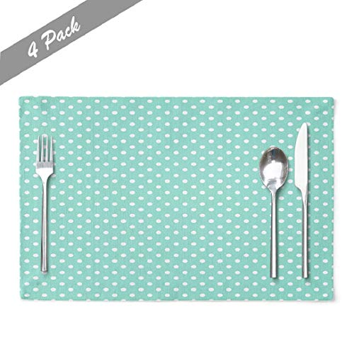 Aactwon Mint-Green Linen Placemats, Heat Resistant Placemat Aqua Amp White Polka Dot Pattern Texture Green Mint Tea Placemats for Dining Kitchen Cafe Bar 18 x 12 Inches, Aqua Green