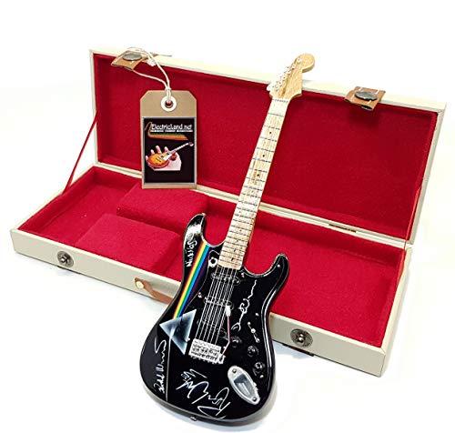 mini guitar DAVID GILMOUR black stratocaster dark side of the moon tribute model + hard case box miniature in scala 1:4 chitarra in miniatura con custodia da collezione music gadget rock