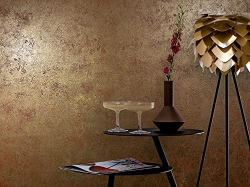 Tapete Gold Kupfer Metallic Vliestapete Gold Muster für Schlafzimmer Wohnzimmer oder Küche Made in Germany 10,05m X 0,53m 77706