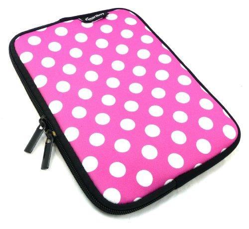Emartbuy® Tupfen Rosa / Weiß Wasser Resistant Neoprene Weich Zip Hülle Cover Tasche Hülle Sleeve Geeignet Für I.onik TP - 1200QC 7.85 Inch Tablet (8 -Zoll-Tablet )
