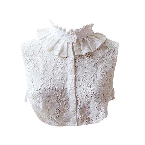 Lenfesh Cuello Falso Camisa Desmontable, Elegante Bordado Falso Collar Mitad Camisa Blusa Blanco para Mujeres (E)