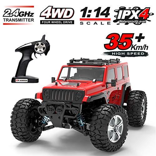 KingBaas RC Autos Offroad Ferngesteuertes,1:14 RC Spielzeug Auto 2.4 GHz Aluminiumlegierung aus Truck 4WD All Terrains Drift Monstertruck Truggy für Erwachsene und Jugendliche