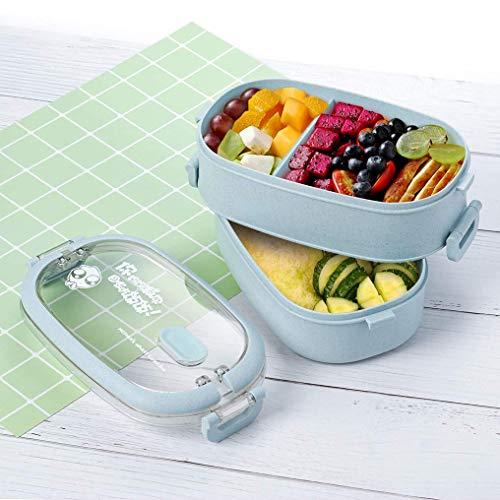 Boîte à lunch, 2-couches boîte et couverts Set boîtes à lunch for enfants adultes école de travail, au micro-ondes et lave-vaisselle