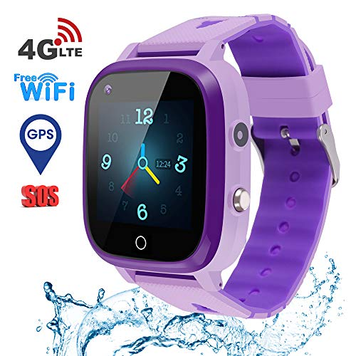 Beacon Pet Kids Smart Watch, 4G WiFi GPS LBS Tracker SOS Emergency Call Video Chat Children Smartwatches, IP67 Waterproof Phone Watch for Boys Girls, Compatible with Android/iPhone iOS - Purple