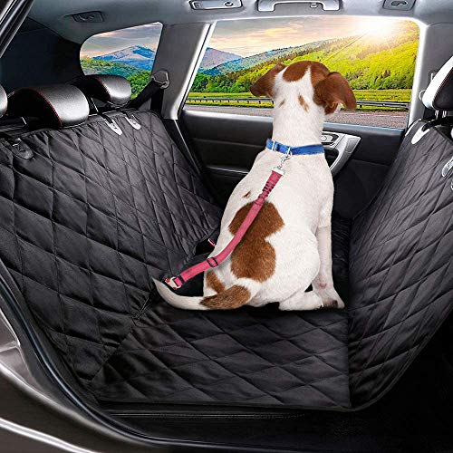 Dog Car Seat Cover, 4 Layers Quilted Waterproof Washable & Nonslip Backing, Pet Car Hammock Back Seat Protector With a Storage Bag