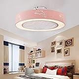 Ganeep Ventilador de techo luz creativa moderna redondo rosado de techo regulable LED de luz con control remoto Nursery dormitorio de la lámpara de oficina Restaurante Sala Iluminación decorativa