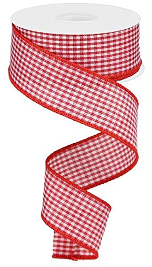 Mini Gingham Check Wired Edge Ribbon, 10 Yards (Red, White, 1.5