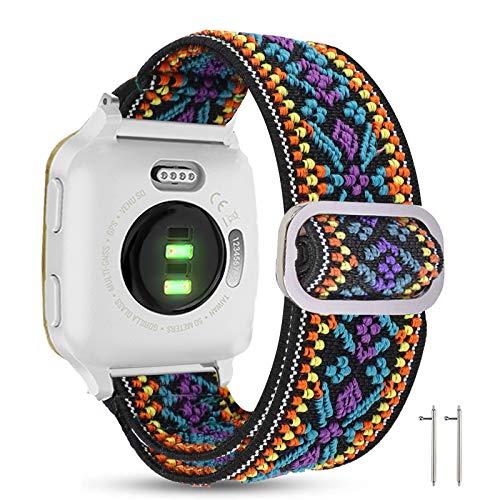 LvBu Armband Kompatibel mit Garmin Venu SQ, Einstellbar Stoff Armbänder, Weich und Dehnbar Elastizität Ersatzband für Garmin Venu SQ Smartwatch (lila Blume)