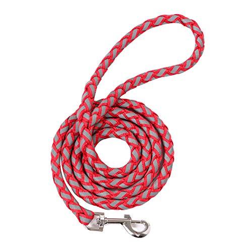 SCM geflochtene Hundeleine – reflektierend 150cm Länge, 10mm Bereit- Retrieverleine-Seilleine (Rot)
