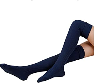 Tukistore, Tukistore - Calcetines altos de punto para mujer, para invierno, cálidos por encima de la rodilla, calentadores de piernas, extralargos, muslos altos, leggings, azul marino, talla única