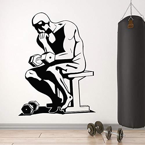 Club de fitness tatuajes de pared logotipo de gimnasio deportes barra ejercicio entrenamiento muscular decoración de interiores vinilo pegatinas de ventana mural pensador