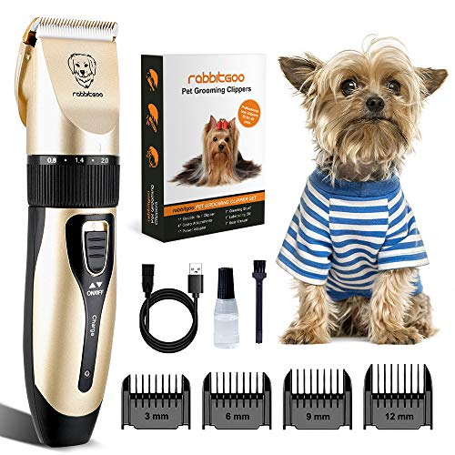 rabbitgoo Dog Grooming Clippers, Rechargeable Pet Hair Trimmer Set, Professional Electric Shaver Hair Remover Kit with 4 Guide Combs Low Noise Cordless Accessories for Pets/Dogs/Cats/Rabbits