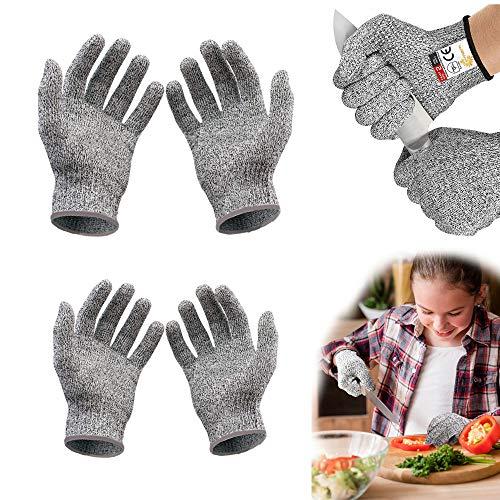 Schnittsichere Handschuhe für Kinder, Schnittschutzhandschuhe Level 5 Schutz,Lebensmittelecht küchenhandschuhe Schnitzset für 5-8 Jährige(XXS und XS)