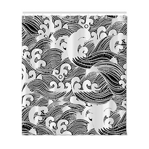 Xxxx Dtjscl Cortina de la Ducha Cortina de Ducha Cortina Impermeable Cortina de Ducha de Tela de poliéster Estampada, decoración de baño, con Gancho