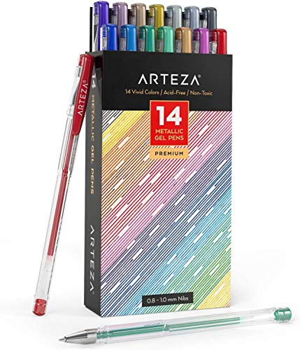 Arteza Metallic Gel Pens, Set of 14-Individual-Colors, 0.8-1.0 mm Tips, Acid-Free & Non-Toxic, Art Supplies for Journaling, Doodling, Drawing