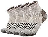 ONKE Men's Merino Wool Moisture Wicking Control Thermal Outdoor Hiking Heavy Cushion Low Cut Socks 4 Pack(Brown L)
