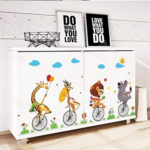 EWQHD De Dibujos Animados Animales De Circo Monociclo Montar A Caballo De La Bici Etiqueta De La Pared Para El Kinder Niños Habitación La Decoración Del Hogar Del Arte Mural De Pvc De Pared Adhesivos