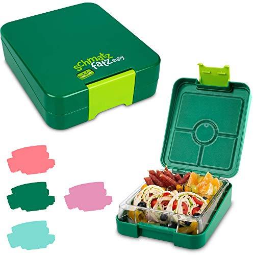 schmatzfatz Easy Kinder Snackbox, Bento Box mit unterteilten Fächern, Lunchbox (Grün)